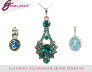 Purches Synthetic Aquamarine Silver Pendant from Angle jewels
