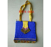 Blue handmade Banjara Embroidered Handbag Kuchi Tribal Bag.