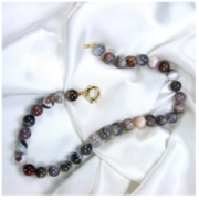 RAINBOW AGATE BEADED STERLING SILVER NECKLACE