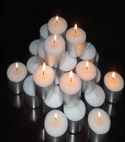 Wax Tea Light Candles (White,  100 pcs)