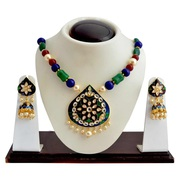 Kundan Meenakari Drop Pendant Necklace from Sheorna