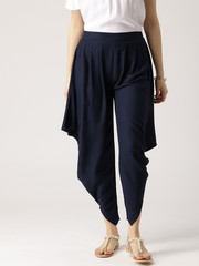 Navy Blue Solid Rayon Cowl Pants