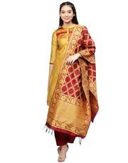 Jaipur Kurti Women Yellow and Maroon Solid Chanderi Kurta