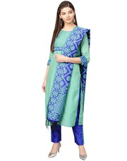 Jaipur Kurti Women Green And Blue Solid Straight Chanderi Kurta