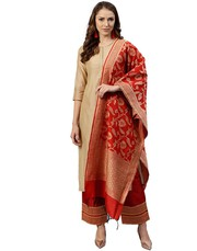 Women Beige and Red Solid Straight Chanderi Kurta with Palazzo