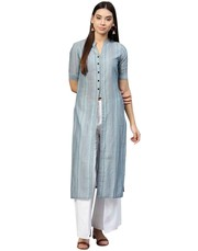 New Women Blue Stripes Straight Handloom Kurta Online