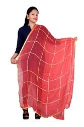 AF Fashion Women Dupatta Chiffon Viscose Gota Work (Red)