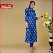 Women Blue Printed Kurta Set