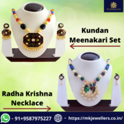 Buy Kundan Meena Necklace Set at Discount Rate from MK Jewellers